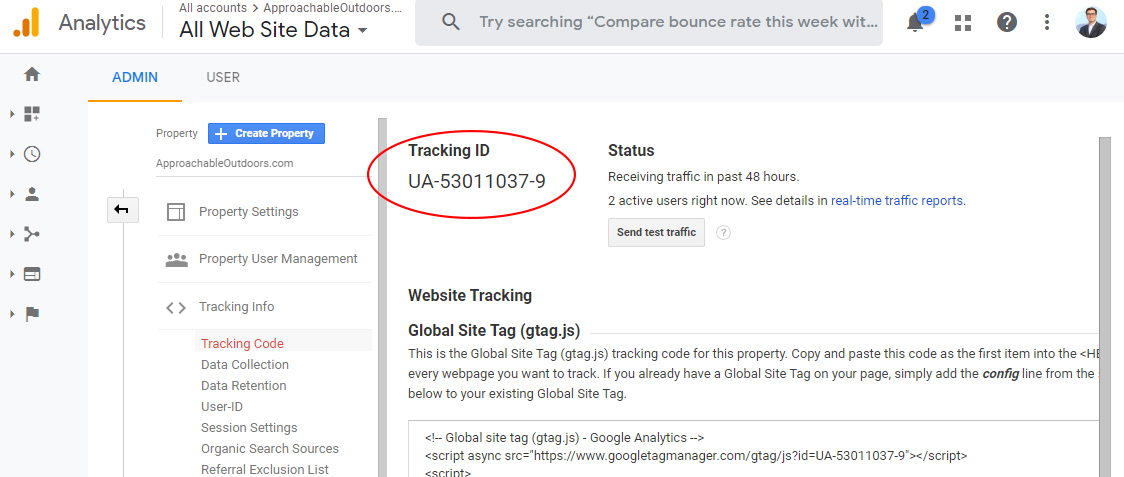 Finding Your Tracking ID In Google Analytics