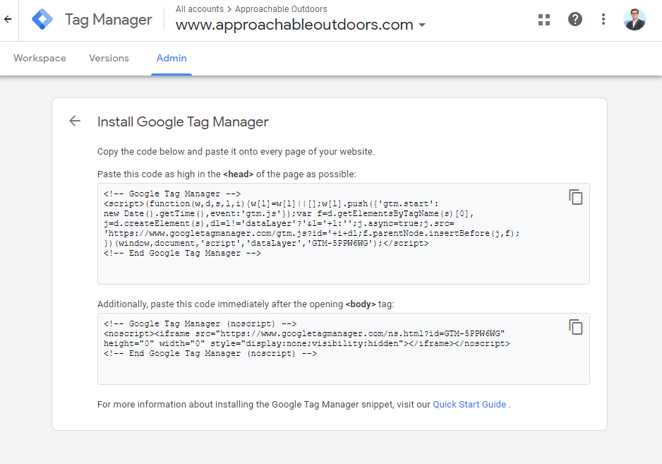 Google Tag Manager's Code